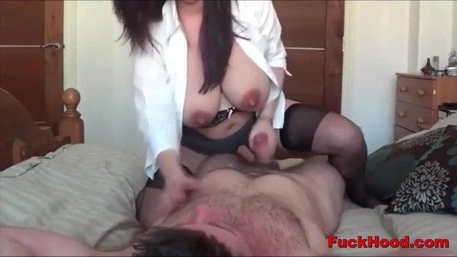 Lactating mamma receives her large scoops sucked cum-hole stuffed