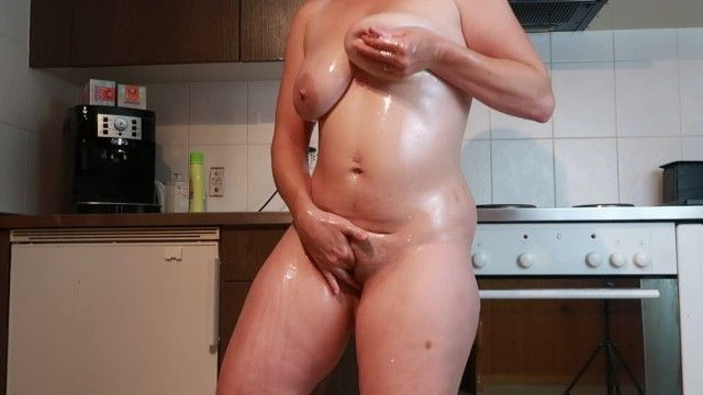Lactating milf milky billibongs masturbation in the kitchen