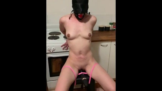 Tied bondman gagged with sex-toy castigation