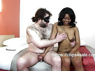 Nineteen year old large boob afro mya receives interviewed whilst giving